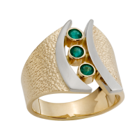 14K YELLOW AND WHITE GOLD RING WITH EMERALDS