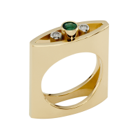 14K YELLOW AND WHITE GOLD RING WITH EMERALD AND DIAMONDS