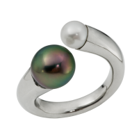 14K WHITE GOLD RING WITH TAHITIAN PEARL