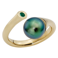 14K YELLOW GOLD RING WITH TAHITIAN PEARL AND EMERALD