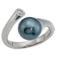 14K WHITE GOLD RING WITH TAHITIAN PEARL AND DIAMOND