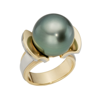 14K YELLOW AND WHITE GOLD RING WITH TAHITIAN PEARL