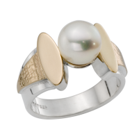 STERLING SILVER AND GOLD RING WITH PEARL