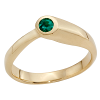 14K YELLOW GOLD RING WITH EMERALDS