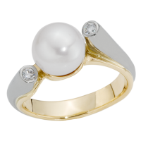 14K YELLOW AND WHITE GOLD RING WITH PEARL AND DIAMONDS
