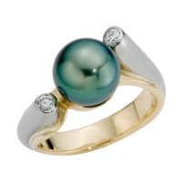 14K YELLOW AND WHITE GOLD RING WITH TAHITIAN PEARL AND DIAMONDS