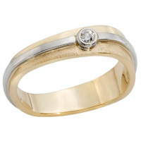 14K YELLOW AND WHITE GOLD RING WITH DIAMOND