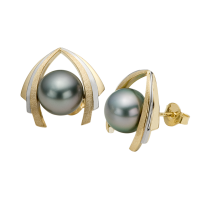 14K YELLOW AND WHITE GOLD EARRINGS WITH TAHITIAN PEARLS