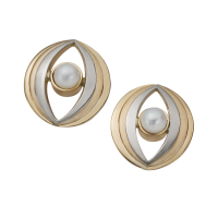 14K YELLOW AND WHITE GOLD EARRINGS WITH PEARLS