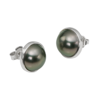 14K WHITE GOLD EARRINGS WITH TAHITIAN PEARLS