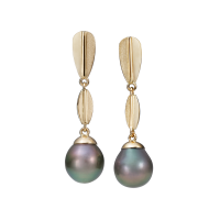14K YELLOW GOLD PENDANT EARRINGS WITH TAHITIAN PEARLS