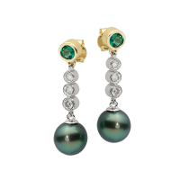 14K YELLOW AND WHITE GOLD PENDANT EARRINGS WITH TAHITIAN PEARLS EMERALDS AND DIAMONDS