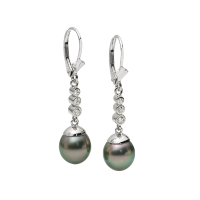14K WHITE GOLD PENDANT EARRINGS WITH TAHITIAN PEARLS AND DIAMONDS