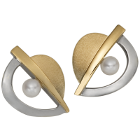 STERLING SILVER AND GOLD EARRINGS WITH PEARLS