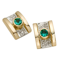 14K YELLOW AND WHITE GOLD EARRINGS WITH EMERALDS