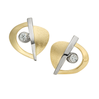 14K YELLOW AND WHITE GOLD EARRINGS WITH DIAMONDS