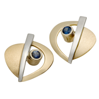 14K YELLOW AND WHITE GOLD EARRINGS WITH SAPHYRS