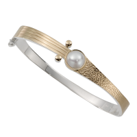 STERLING SILVER AND GOLD BRACELET WITH PEARL