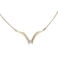 14K YELLOW AND WHITE GOLD NECKLACE WITH PEARL