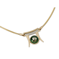 14K YELLOW AND WHITE GOLD NECKLACE WITH TAHITIAN PEARL