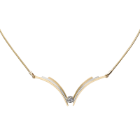 14K YELLOW AND WHITE GOLD NECKLACE WITH DIAMOND