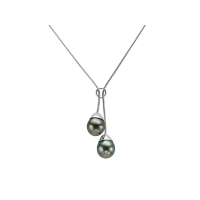14K WHITE GOLD NECKLACE WITH TAHITIAN PEARL