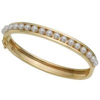 14K YELLOW GOLD BRACELET WITH PEARLS