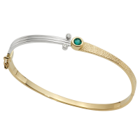 14K YELLOW AND WHITE GOLD BRACELET WITH EMERALD