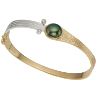 14K YELLOW AND WHITE GOLD BRACELET WITH TAHITIAN PEARL