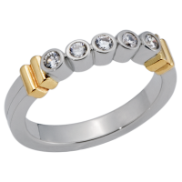 14K YELLOW AND WHITE GOLD HALF ETERNITY BAND WITH DIAMONDS