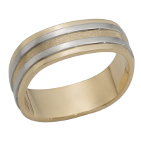 14K YELLOW AND WHITE GOLD BAND