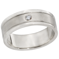 14K WHITE GOLD BAND WITH DIAMOND