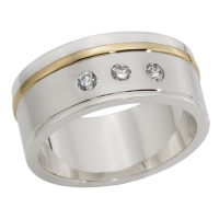 14K YELLOW AND WHITE GOLD BAND WITH DIAMONDS