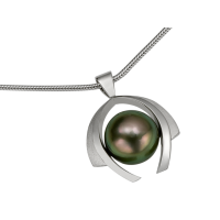 14K WHITE GOLD PENDANT WITH TAHITIAN PEARL