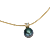 14K YELLOW GOLD PENDANT WITH TAHITIAN PEARL AND DIAMONDS