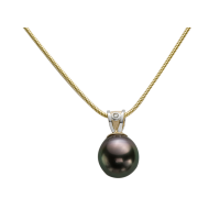 14KT YELLOW AND WHITE GOLD PENDANT WITH TAHITIAN PEARL AND DIAMOND