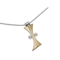 STERLING SILVER AND GOLD PENDANT WITH PEARL