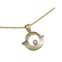 14KT YELLOW AND WHITE GOLD PENDANT WITH DIAMOND