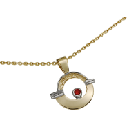 14KT YELLOW AND WHITE GOLD PENDANT WITH RUBY