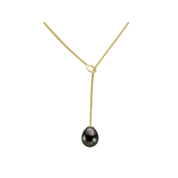 14K YELLOW GOLD NECKLACE WITH TAHITIAN PEARL